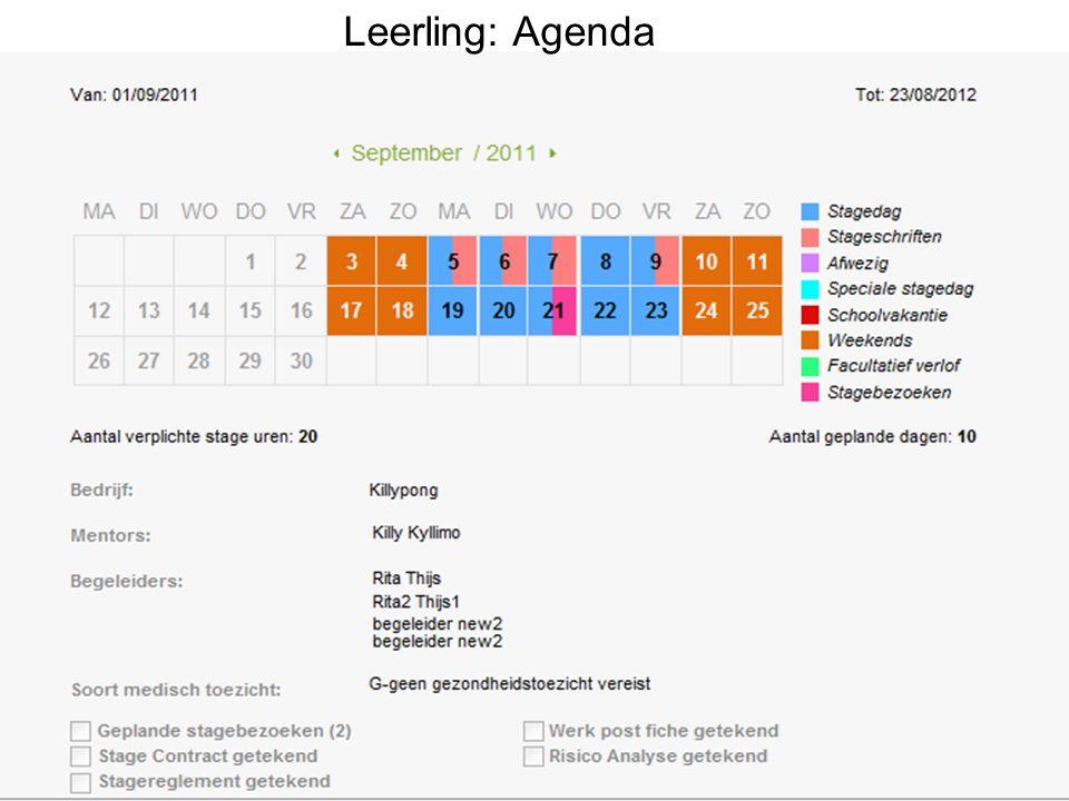 Leerling: Agenda