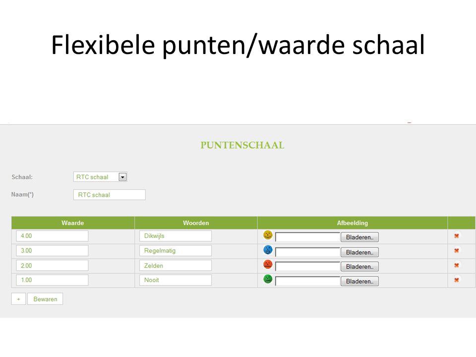 Flexibele punten/waarde schaal
