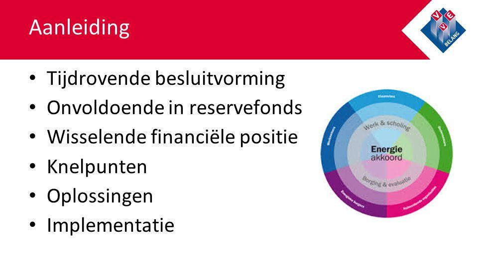Aanleiding Tijdrovende besluitvorming Onvoldoende in reservefonds Wisselende financiële positie Knelpunten Oplossingen Implementatie