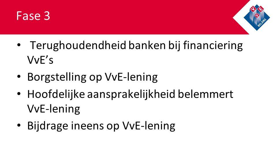Fase 3 Terughoudendheid banken bij financiering VvE's Borgstelling op VvE-lening Hoofdelijke aansprakelijkheid belemmert VvE-lening Bijdrage ineens op VvE-lening