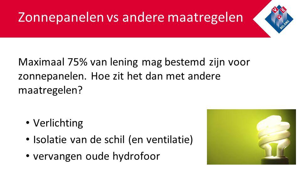 Zonnepanelen vs andere maatregelen Maximaal 75% van lening mag bestemd zijn voor zonnepanelen.