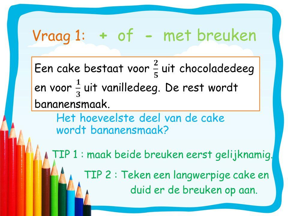 Vraag 1: + of - met breuken Het hoeveelste deel van de cake wordt bananensmaak? TIP 1 : maak beide breuken eerst gelijknamig. TIP 2 : Teken een langwe
