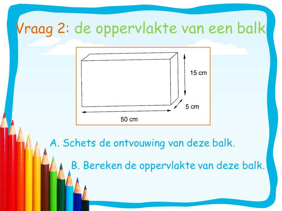Vraag 2: de oppervlakte van een balk A. Schets de ontvouwing van deze balk. B. Bereken de oppervlakte van deze balk.
