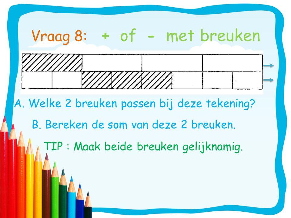 A. Welke 2 breuken passen bij deze tekening? TIP : Maak beide breuken gelijknamig. Vraag 8: + of - met breuken B. Bereken de som van deze 2 breuken.