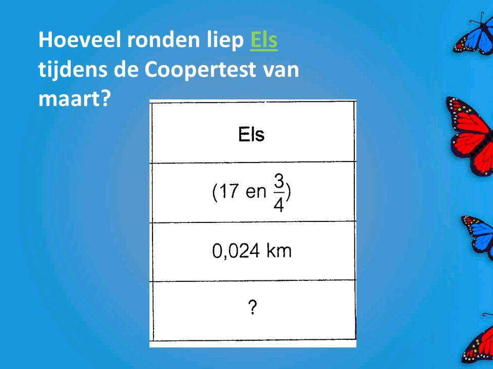 Hoeveel ronden liep Els tijdens de Coopertest van maart