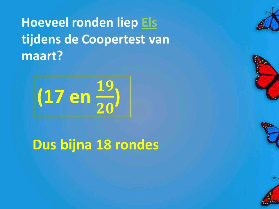 Hoeveel ronden liep Els tijdens de Coopertest van maart? Dus bijna 18 rondes
