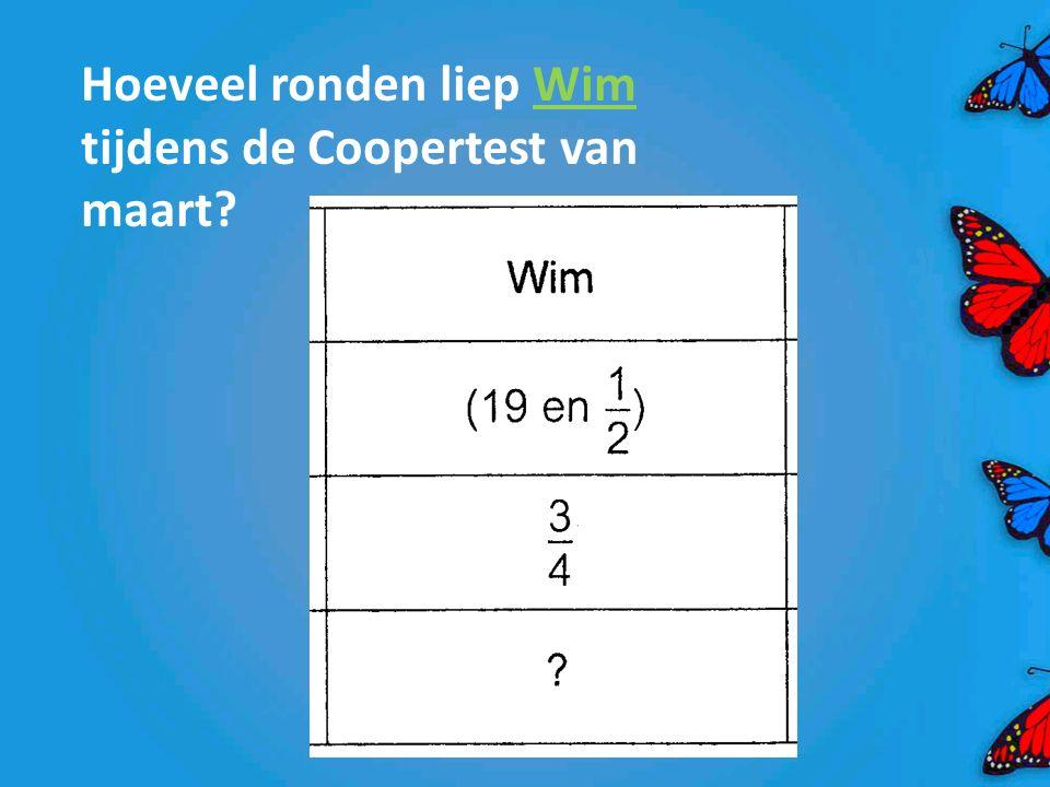 Hoeveel ronden liep Wim tijdens de Coopertest van maart?