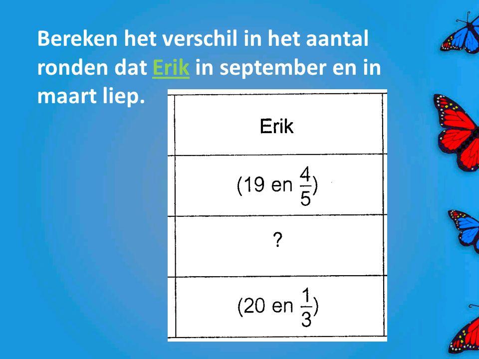 Bereken het verschil in het aantal ronden dat Erik in september en in maart liep.