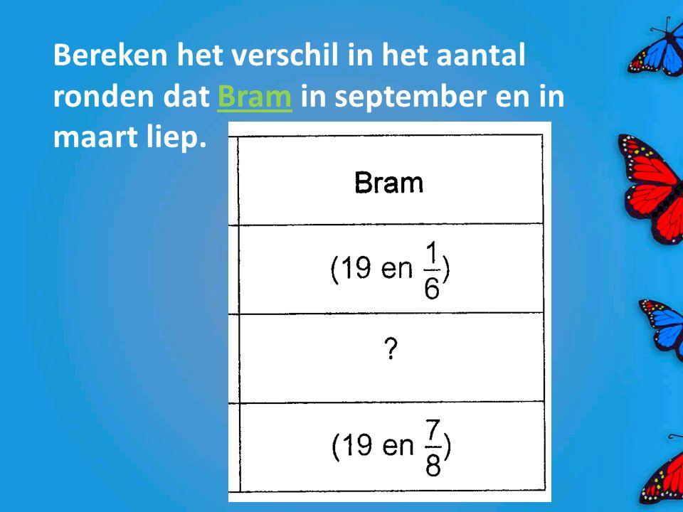 Bereken het verschil in het aantal ronden dat Bram in september en in maart liep.