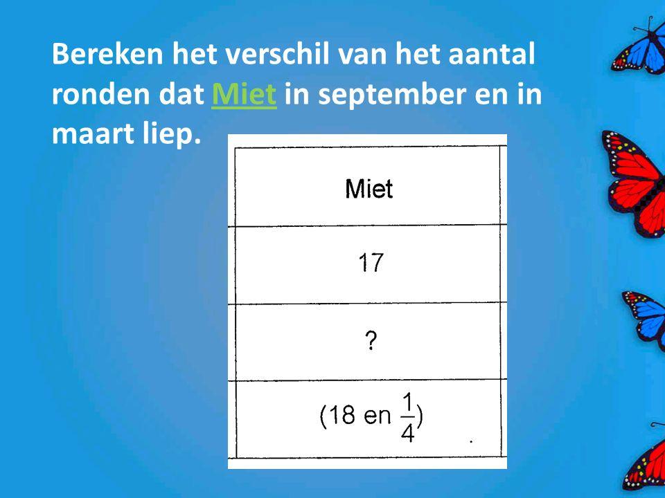 Bereken het verschil van het aantal ronden dat Miet in september en in maart liep.