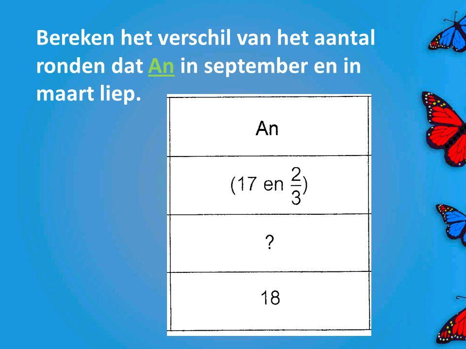 Bereken het verschil van het aantal ronden dat An in september en in maart liep.