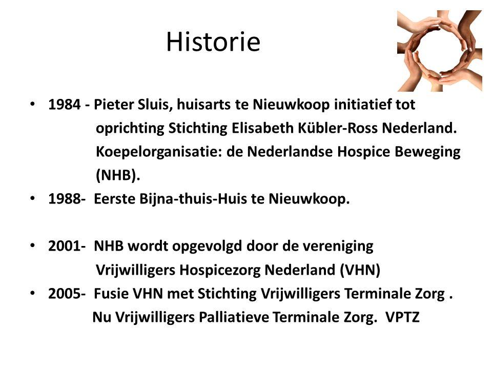 Historie 1984 - Pieter Sluis, huisarts te Nieuwkoop initiatief tot oprichting Stichting Elisabeth Kübler-Ross Nederland.