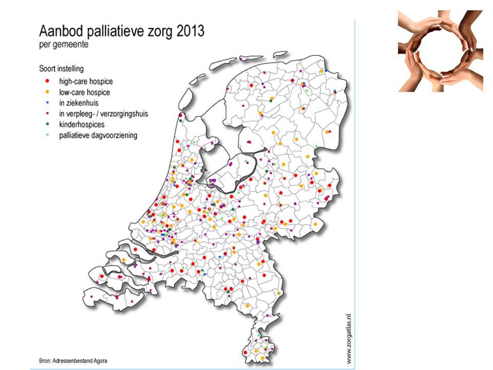 Enkele cijfers 2013 123 hospices in Nederland 143 verpleeg- en verzorgingshuizen 15 ziekenhuizen met een speciale afdeling voor symptoomcontrole en stabilisatie.