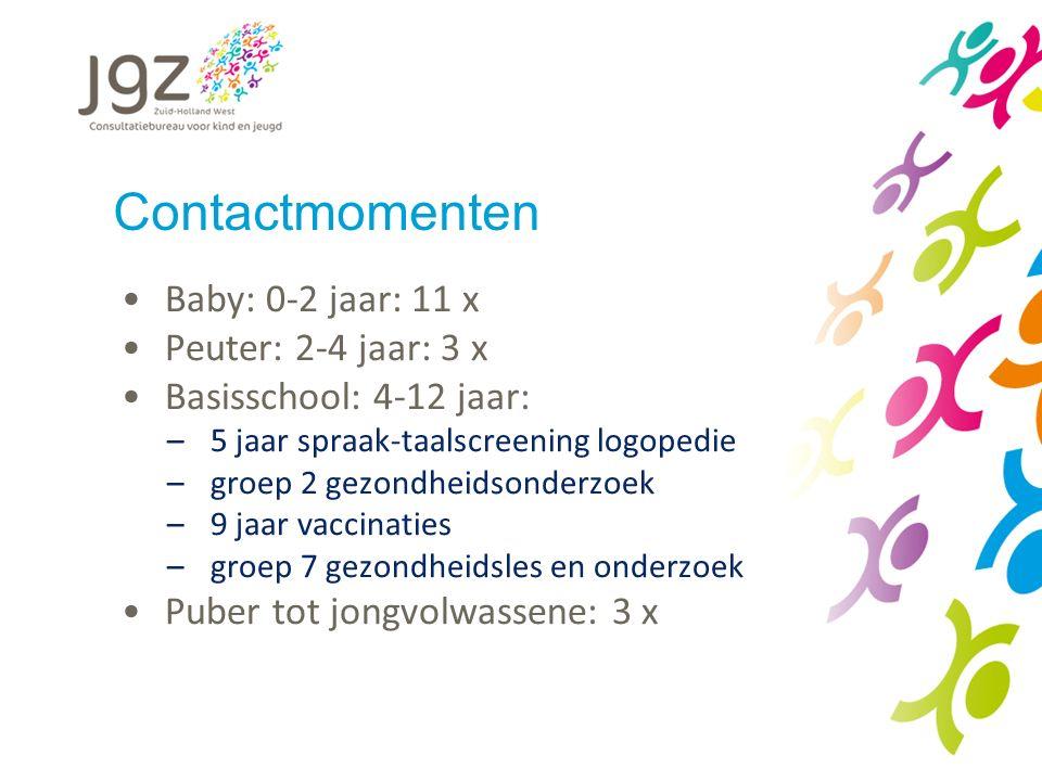 Contactmomenten Baby: 0-2 jaar: 11 x Peuter: 2-4 jaar: 3 x Basisschool: 4-12 jaar: –5 jaar spraak-taalscreening logopedie –groep 2 gezondheidsonderzoe