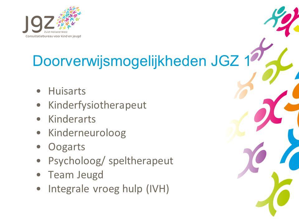 Doorverwijsmogelijkheden JGZ 1 Huisarts Kinderfysiotherapeut Kinderarts Kinderneuroloog Oogarts Psycholoog/ speltherapeut Team Jeugd Integrale vroeg h