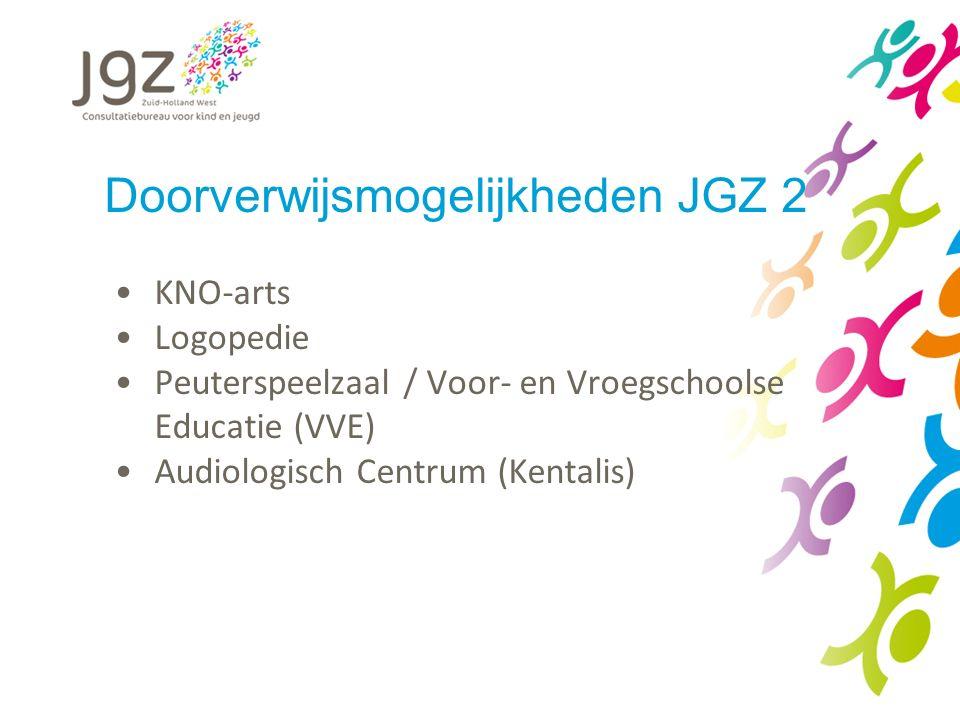Doorverwijsmogelijkheden JGZ 2 KNO-arts Logopedie Peuterspeelzaal / Voor- en Vroegschoolse Educatie (VVE) Audiologisch Centrum (Kentalis)