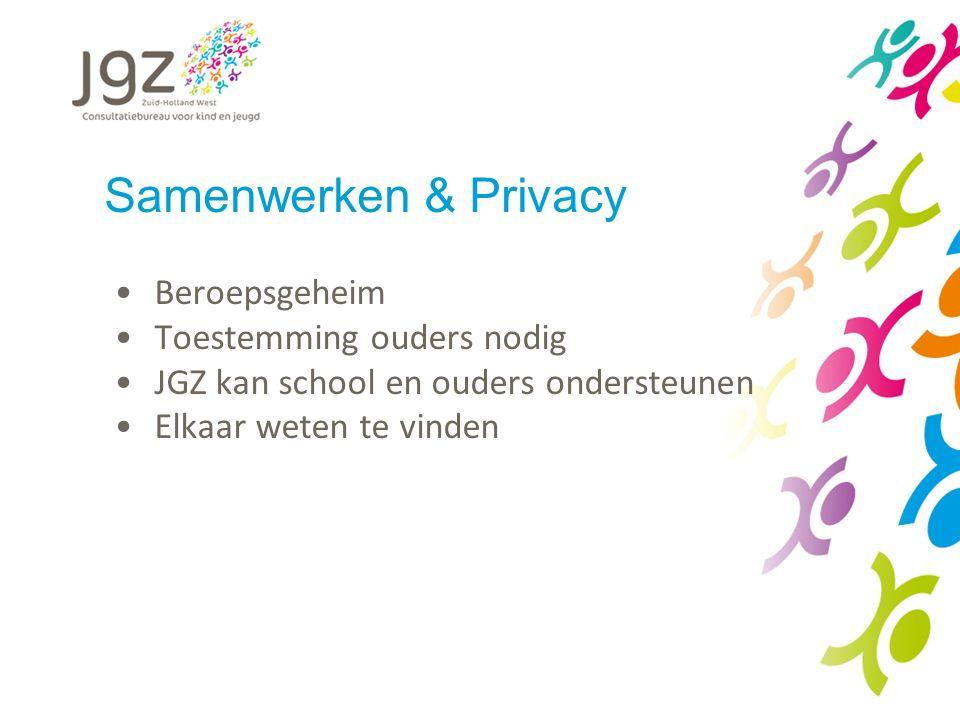 Samenwerken & Privacy Beroepsgeheim Toestemming ouders nodig JGZ kan school en ouders ondersteunen Elkaar weten te vinden