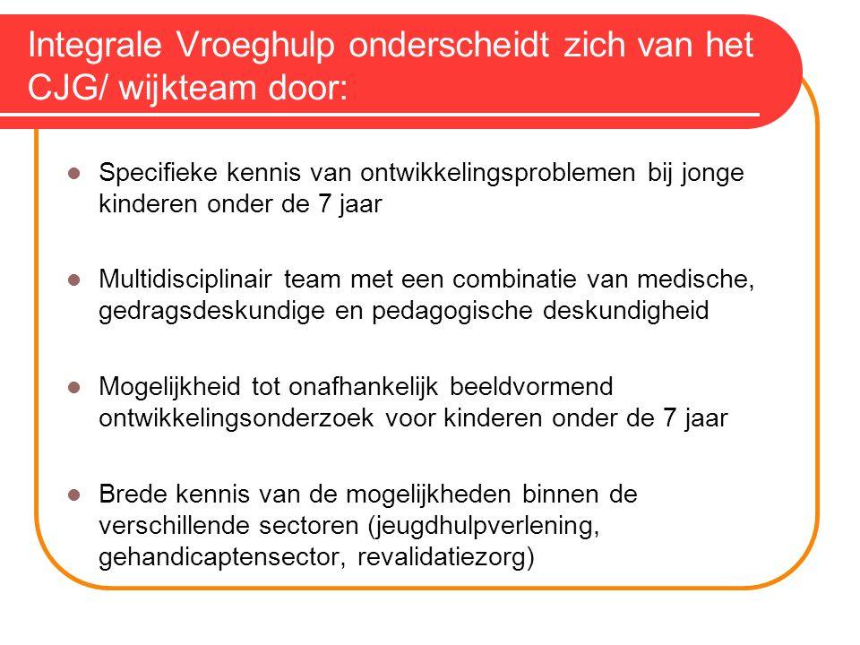 Integrale Vroeghulp onderscheidt zich van het CJG/ wijkteam door: Specifieke kennis van ontwikkelingsproblemen bij jonge kinderen onder de 7 jaar Mult