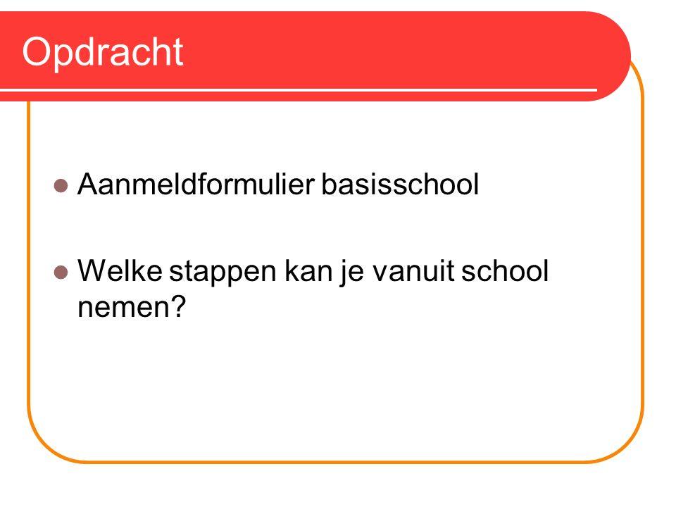 Opdracht Aanmeldformulier basisschool Welke stappen kan je vanuit school nemen?