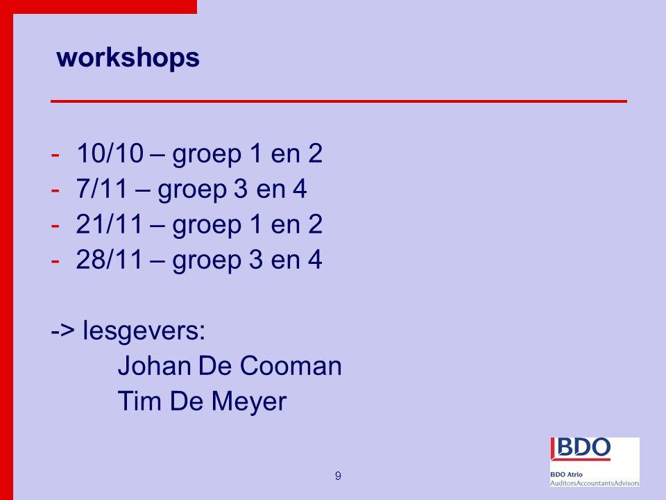 9 workshops -10/10 – groep 1 en 2 -7/11 – groep 3 en 4 -21/11 – groep 1 en 2 -28/11 – groep 3 en 4 -> lesgevers: Johan De Cooman Tim De Meyer