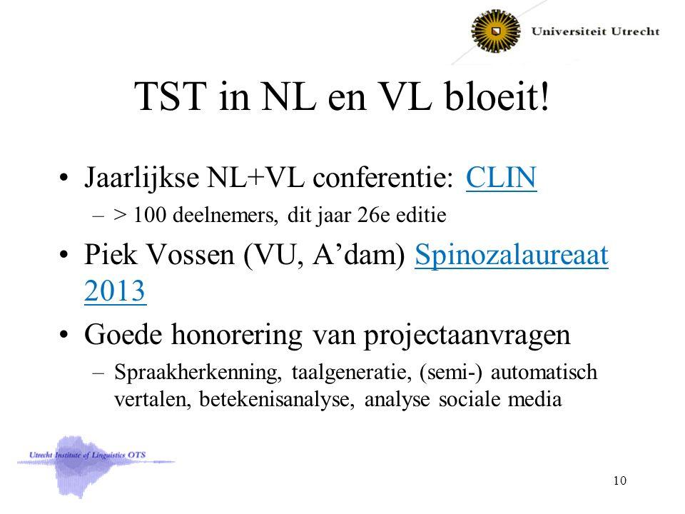 TST in NL en VL bloeit! Jaarlijkse NL+VL conferentie: CLINCLIN –> 100 deelnemers, dit jaar 26e editie Piek Vossen (VU, A'dam) Spinozalaureaat 2013Spin