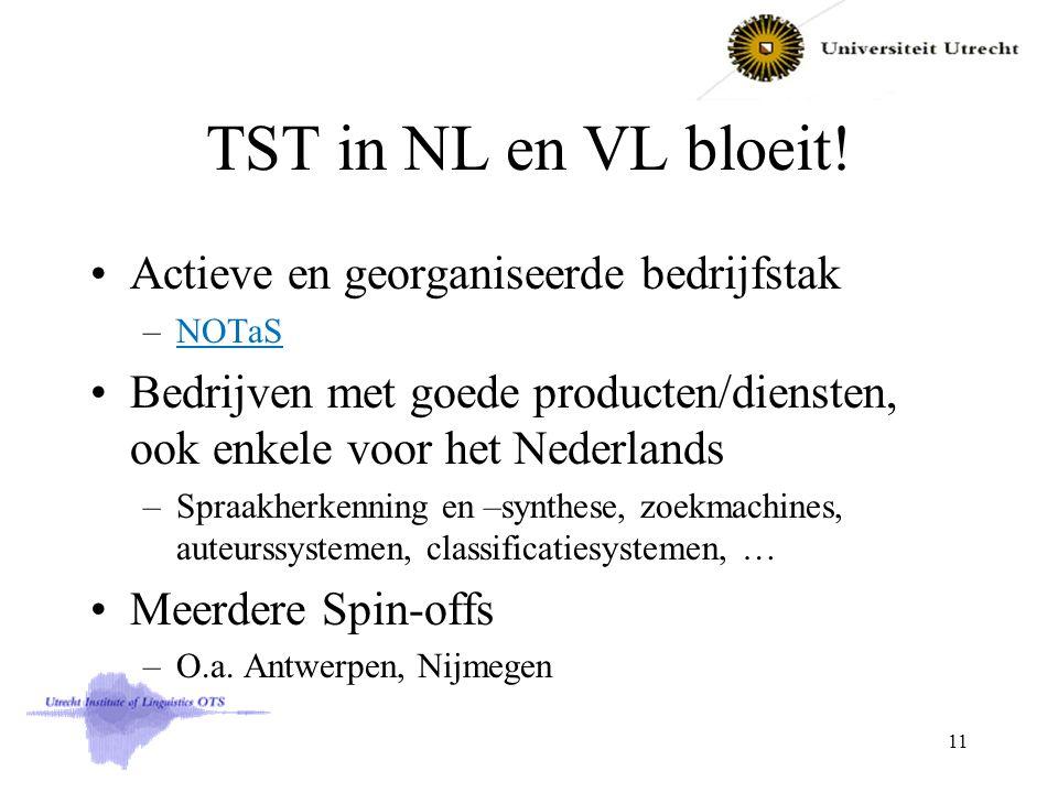 TST in NL en VL bloeit! Actieve en georganiseerde bedrijfstak –NOTaSNOTaS Bedrijven met goede producten/diensten, ook enkele voor het Nederlands –Spra