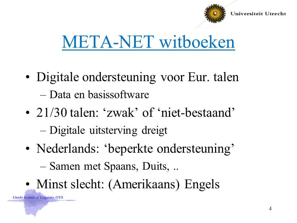 META-NET witboeken Digitale ondersteuning voor Eur. talen –Data en basissoftware 21/30 talen: 'zwak' of 'niet-bestaand' –Digitale uitsterving dreigt N