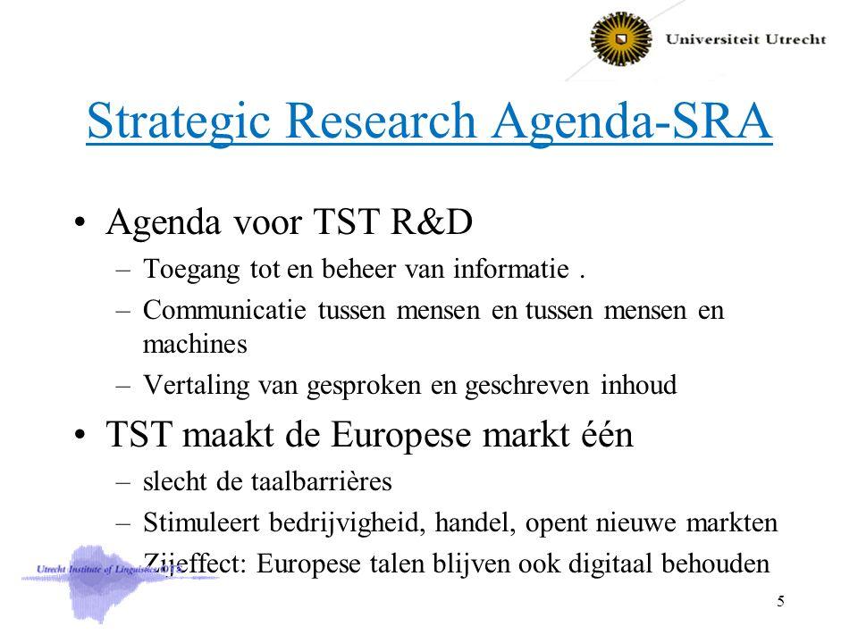 Strategic Research Agenda-SRA Agenda voor TST R&D –Toegang tot en beheer van informatie. –Communicatie tussen mensen en tussen mensen en machines –Ver