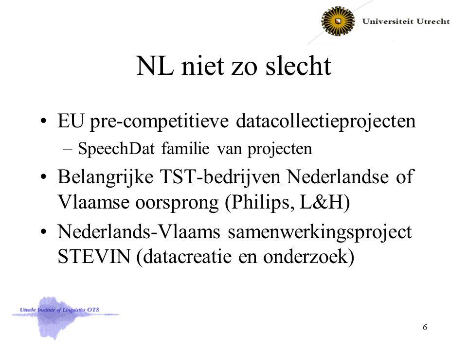 NL niet zo slecht EU pre-competitieve datacollectieprojecten –SpeechDat familie van projecten Belangrijke TST-bedrijven Nederlandse of Vlaamse oorsprong (Philips, L&H) Nederlands-Vlaams samenwerkingsproject STEVIN (datacreatie en onderzoek) 6
