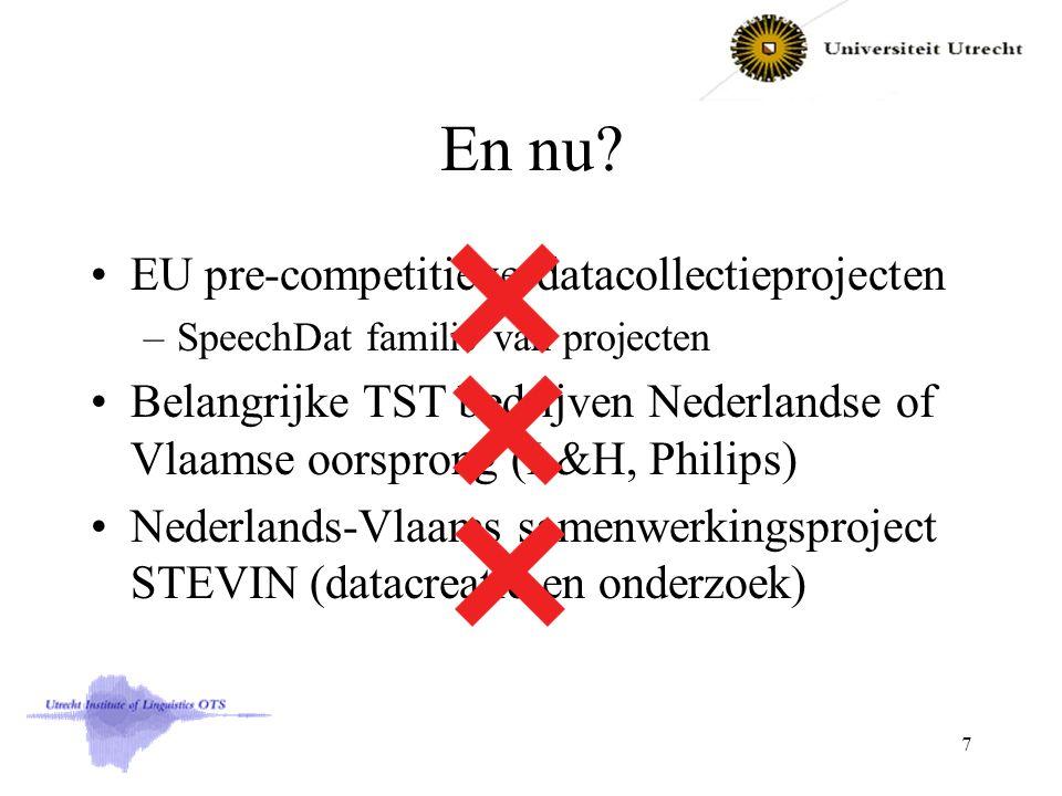 En nu? EU pre-competitieve datacollectieprojecten –SpeechDat familie van projecten Belangrijke TST bedrijven Nederlandse of Vlaamse oorsprong (L&H, Ph