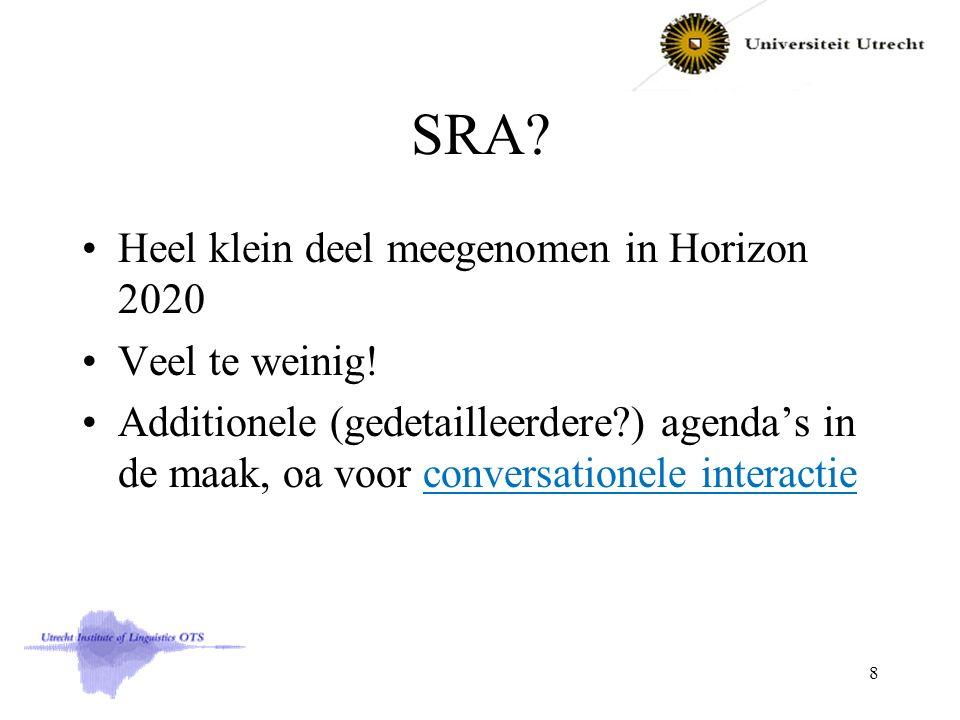 SRA? Heel klein deel meegenomen in Horizon 2020 Veel te weinig! Additionele (gedetailleerdere?) agenda's in de maak, oa voor conversationele interacti