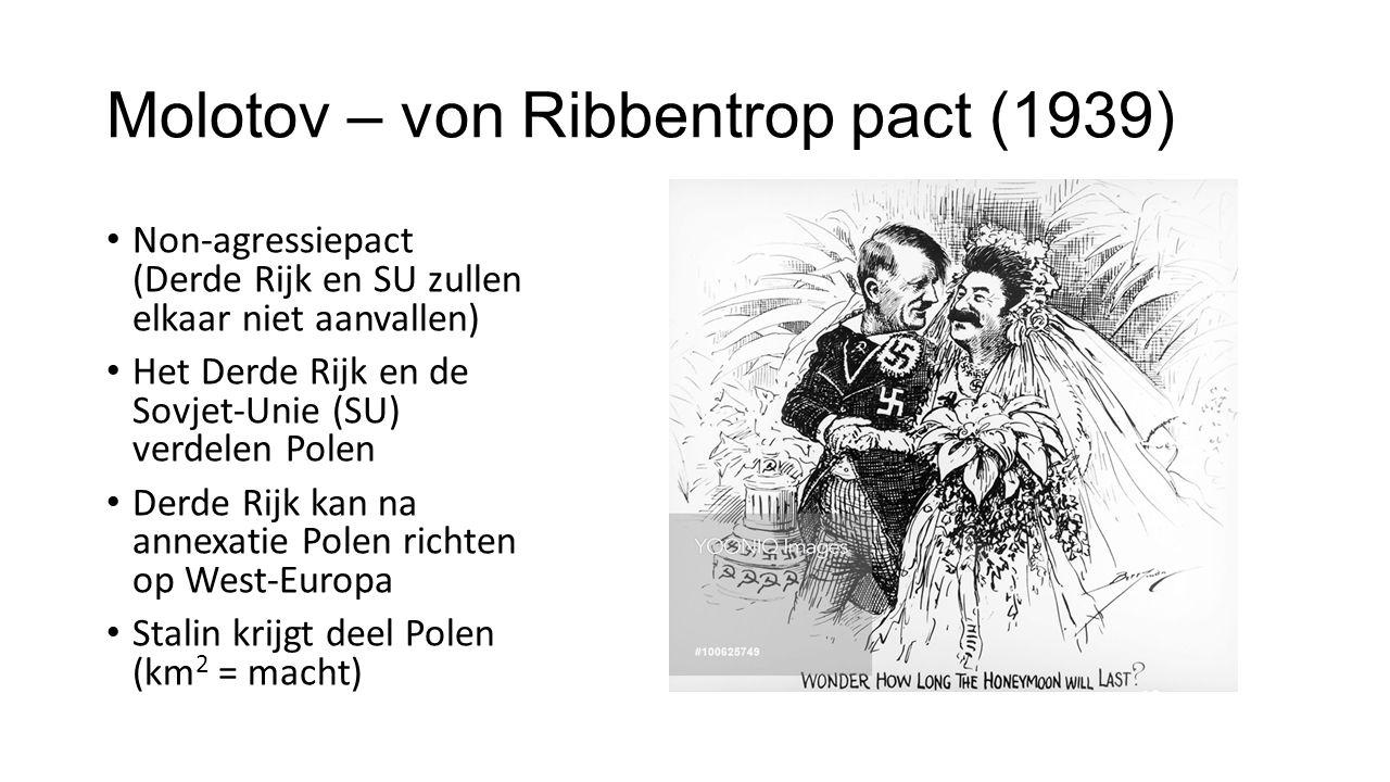 Molotov – von Ribbentrop pact (1939) Non-agressiepact (Derde Rijk en SU zullen elkaar niet aanvallen) Het Derde Rijk en de Sovjet-Unie (SU) verdelen Polen Derde Rijk kan na annexatie Polen richten op West-Europa Stalin krijgt deel Polen (km 2 = macht)