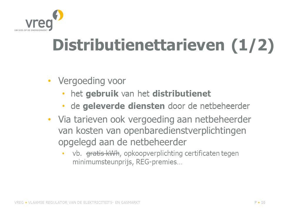 Distributienettarieven (1/2) Vergoeding voor het gebruik van het distributienet de geleverde diensten door de netbeheerder Via tarieven ook vergoeding