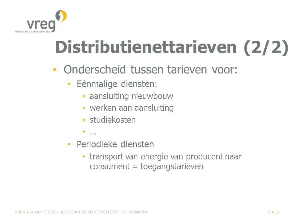 Distributienettarieven (2/2) Onderscheid tussen tarieven voor: Eénmalige diensten: aansluiting nieuwbouw werken aan aansluiting studiekosten … Periodi