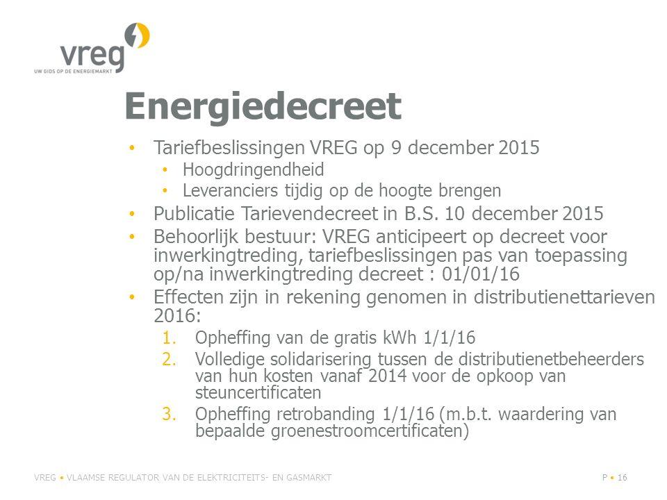 Energiedecreet Tariefbeslissingen VREG op 9 december 2015 Hoogdringendheid Leveranciers tijdig op de hoogte brengen Publicatie Tarievendecreet in B.S.