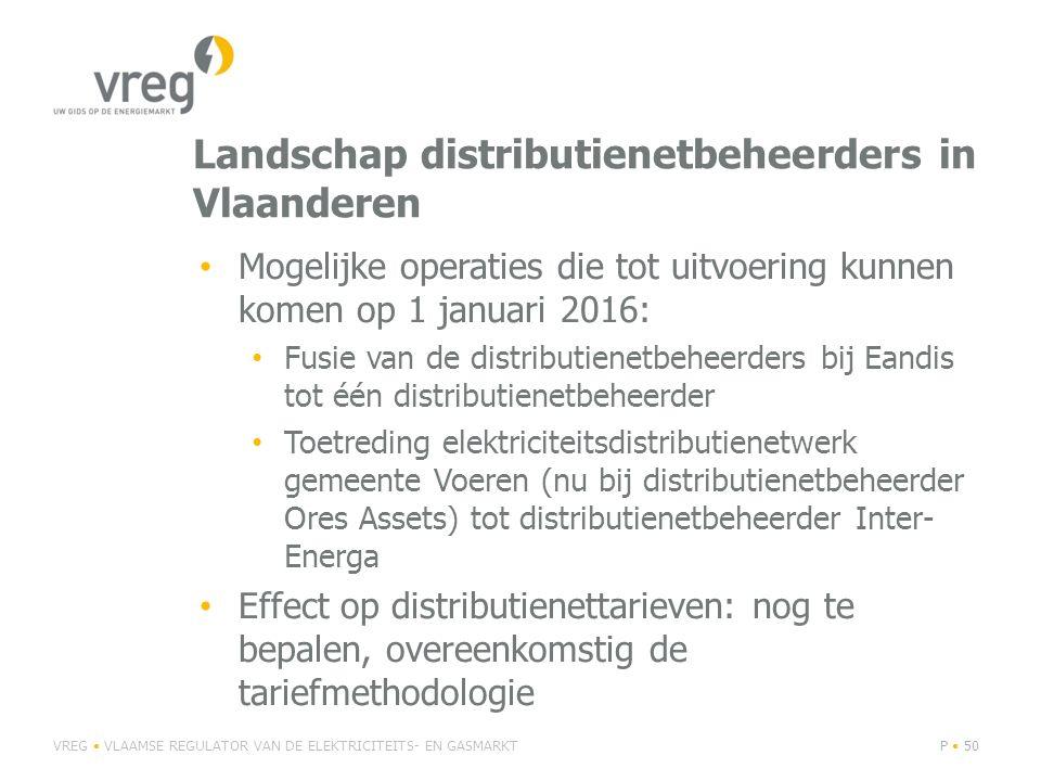 Landschap distributienetbeheerders in Vlaanderen Mogelijke operaties die tot uitvoering kunnen komen op 1 januari 2016: Fusie van de distributienetbeh