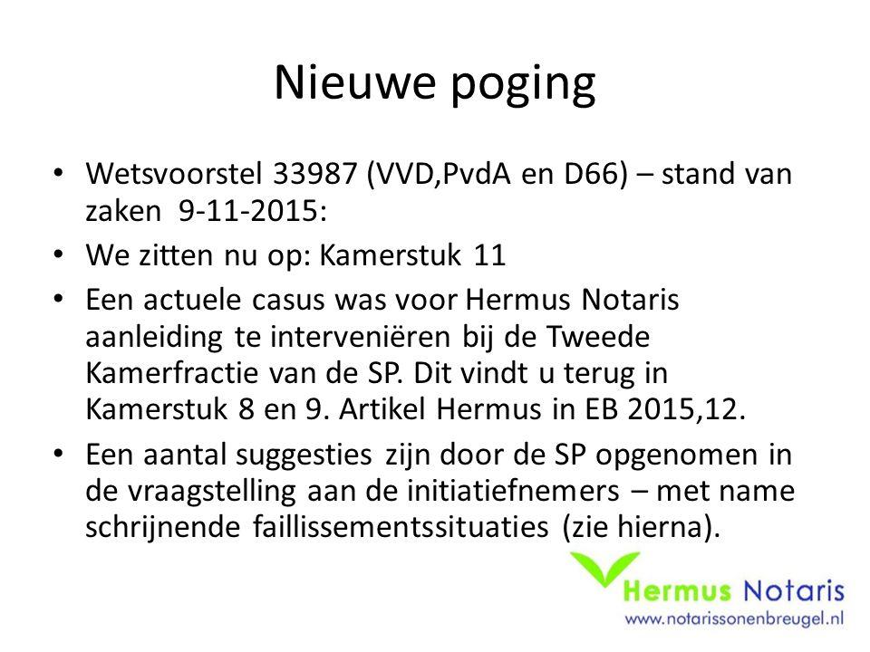 Nieuwe poging Wetsvoorstel 33987 (VVD,PvdA en D66) – stand van zaken 9-11-2015: We zitten nu op: Kamerstuk 11 Een actuele casus was voor Hermus Notaris aanleiding te interveniëren bij de Tweede Kamerfractie van de SP.