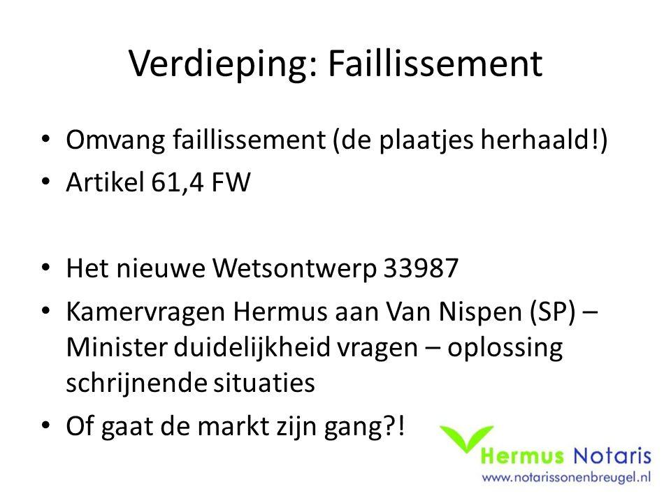 Verdieping: Faillissement Omvang faillissement (de plaatjes herhaald!) Artikel 61,4 FW Het nieuwe Wetsontwerp 33987 Kamervragen Hermus aan Van Nispen (SP) – Minister duidelijkheid vragen – oplossing schrijnende situaties Of gaat de markt zijn gang !