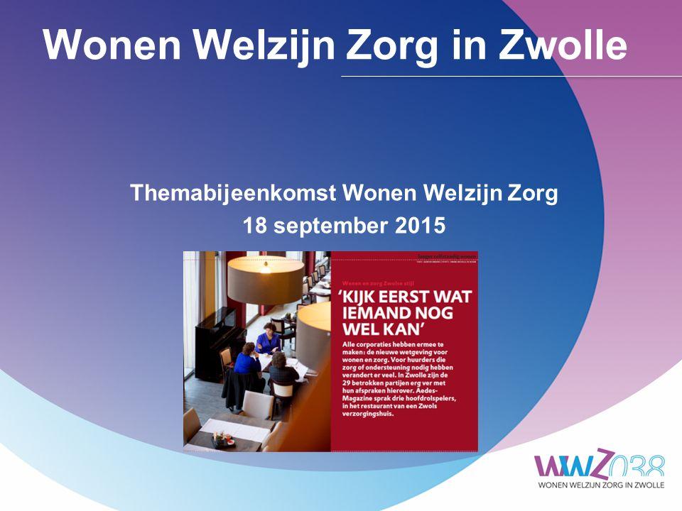 Wonen Welzijn Zorg in Zwolle Themabijeenkomst Wonen Welzijn Zorg 18 september 2015