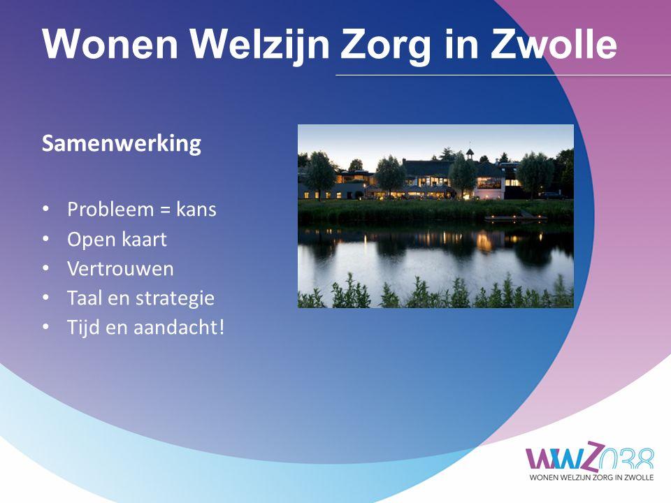 Wonen Welzijn Zorg in Zwolle Gemeente o Situationeel: op handen zitten o Afspraken nakomen o Bundelen geldstromen o WWZ038 in prestatieafspraken o Welkom in mijn wijk o GGZ, VG, daklozen o Spreidingskaart o Betrekken omwonenden o Drie modelcontracten