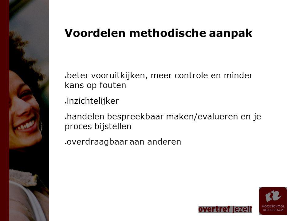 Voordelen methodische aanpak ● beter vooruitkijken, meer controle en minder kans op fouten ● inzichtelijker ● handelen bespreekbaar maken/evalueren en