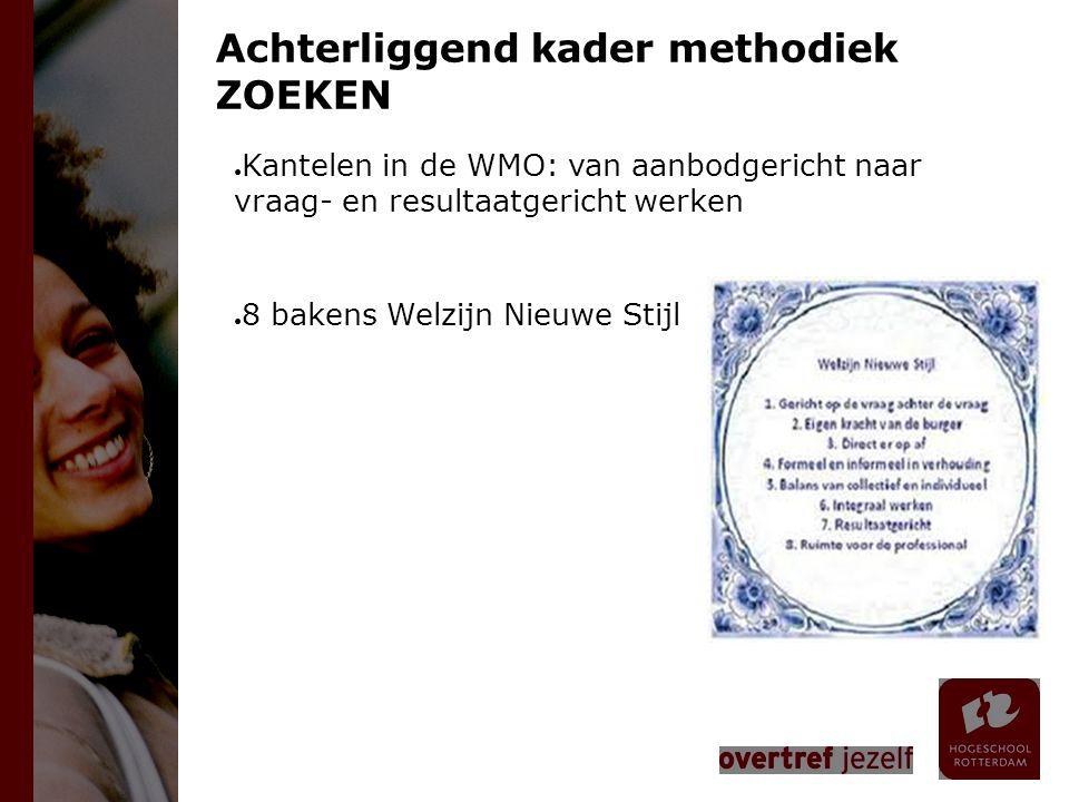 Achterliggend kader methodiek ZOEKEN ● Kantelen in de WMO: van aanbodgericht naar vraag- en resultaatgericht werken ● 8 bakens Welzijn Nieuwe Stijl