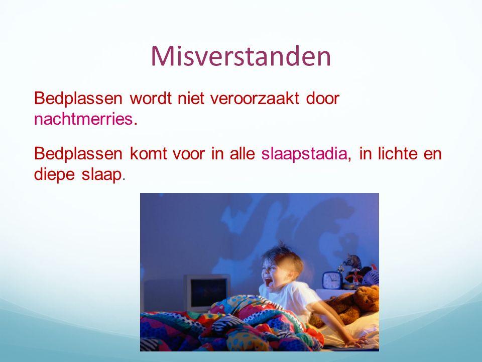 Misverstanden Bedplassen wordt niet veroorzaakt door nachtmerries. Bedplassen komt voor in alle slaapstadia, in lichte en diepe slaap.