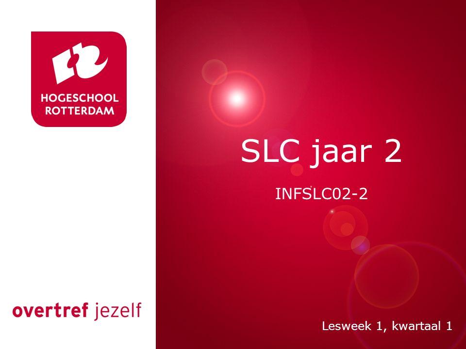 Jaar 2: Hoofdfase SLC In deze fase komt aan bod: Begeleiding van individuele competentieontwikkeling aan de hand van je portfolio; Begeleiding bij het opstellen en nastreven van leerdoelen (SMART); Juiste beroepshouding; Zicht op verschillende beroepen; Netwerken en inzetten van Social Media