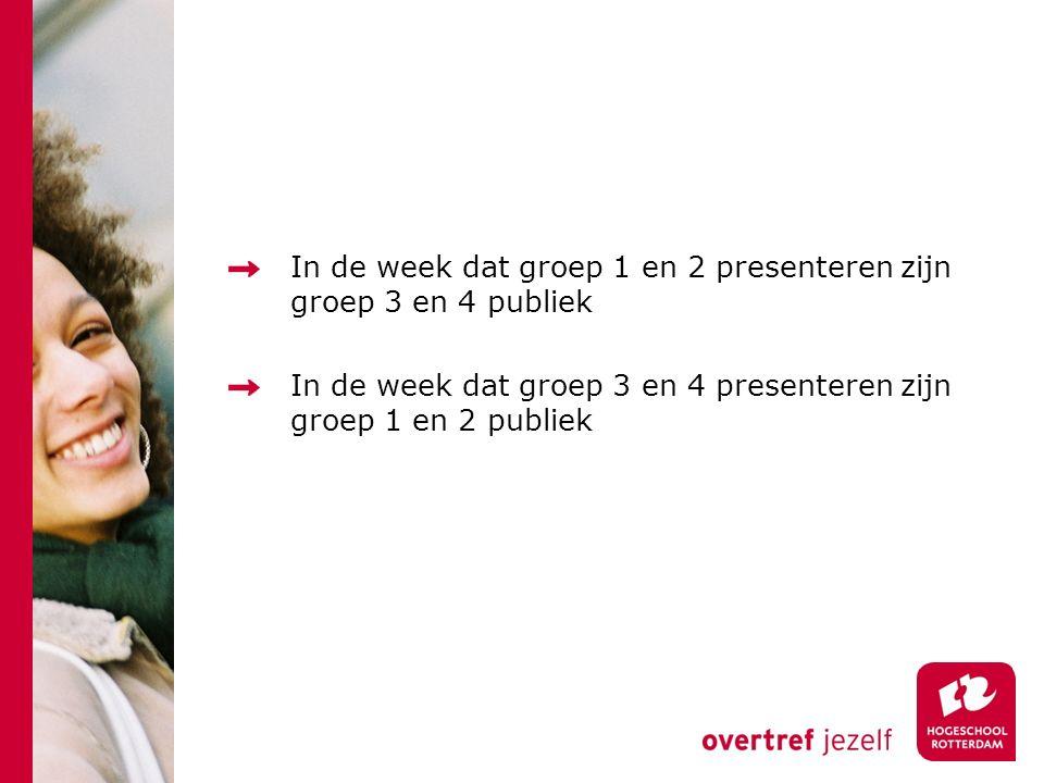 In de week dat groep 1 en 2 presenteren zijn groep 3 en 4 publiek In de week dat groep 3 en 4 presenteren zijn groep 1 en 2 publiek