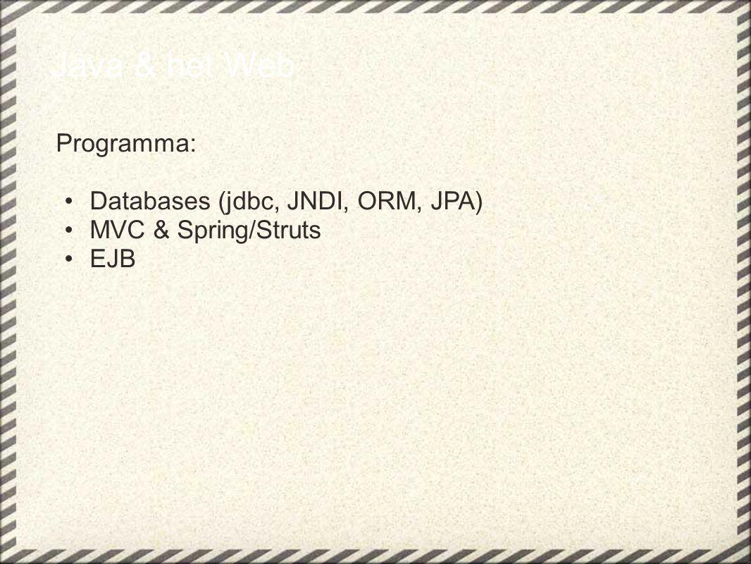 Java & het Web Programma: Databases (jdbc, JNDI, ORM, JPA) MVC & Spring/Struts EJB