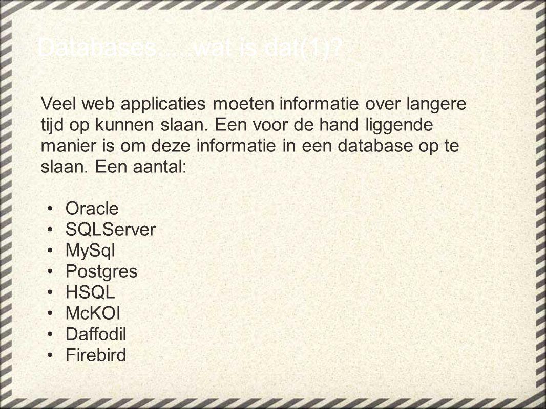 Databases.....wat is dat(1)? Veel web applicaties moeten informatie over langere tijd op kunnen slaan. Een voor de hand liggende manier is om deze inf