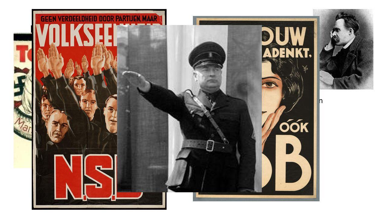 Fascisme in andere landen Duitsland: Nationaal Socialistische Duitse Arbeiders Partij Raszuiverheid van Duitse Ras Arische ras (Germaanse volkeren)  Ubermensch Joden, zigeneurs, oost-Europeanen, gekleurde mensen etc.