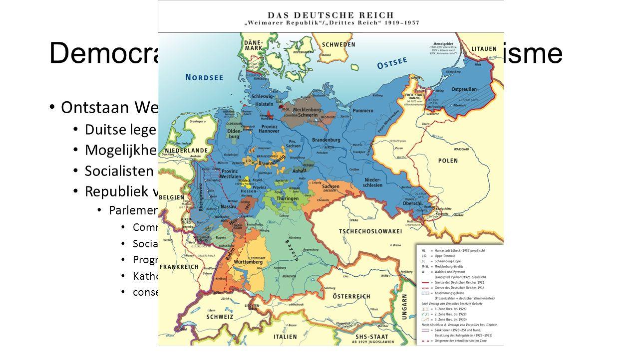 Democratie maakt plaats voor fascisme Ontstaan Weimar Republiek (1918) Duitse leger werd teruggedrongen Mogelijkheid tot communistische revolute Socialisten roepen Republiek uit Republiek van Weimar Parlement bestaande uit 6 partijen Communisten Socialisten Progressieve – en conservatie liberalen Katholieken conservatieven