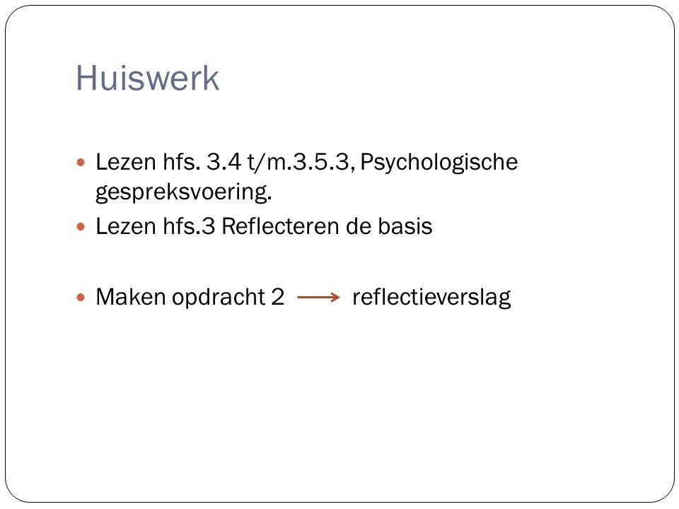 Huiswerk Lezen hfs. 3.4 t/m.3.5.3, Psychologische gespreksvoering.